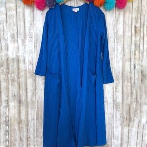 LulaRoe Blue Ribbed Sarah Cardigan